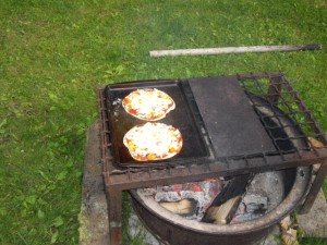 Our first fire-grilled pizza attempt