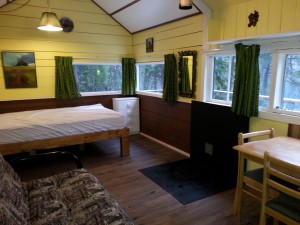 Cabin 1 with new brown flooring